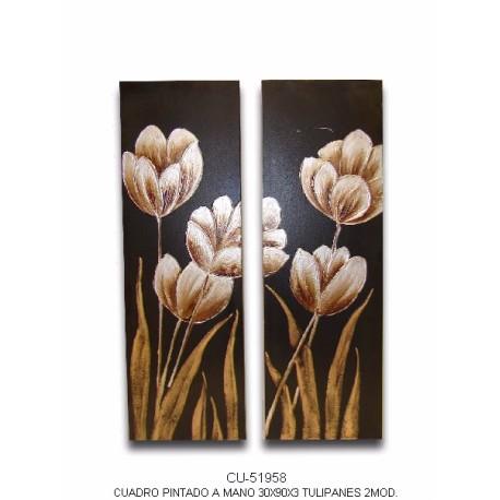 Pareja dos cuadros tulipanes